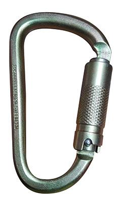 Mosqueton En D Carabiner En Acero (Doble Seguro) 45 kN