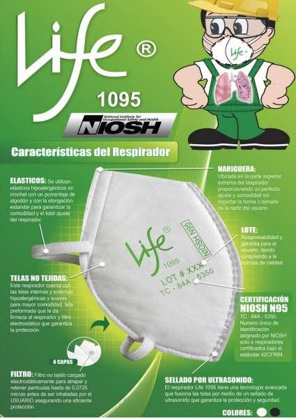Respirador Life 1095 Certificado NIOSH N95